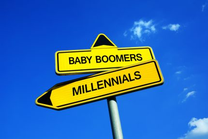 Baby,Boomers,Vs,Millennials,-,Traffic,Sign,With,Two,Options